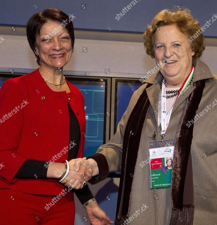 New Interpol President Mireille Balestrazzi (l) and Italian Interior Minister Anna Maria Cancellieri (r) Pose For the Media During the Closing of Interpol's 81st General Assembly in Rome Italy 08 November 2012 Media Reports State That French Police Commissioner Mireille Balestrazzi was Elected the First Female President of the International Police Organization Italy Rome