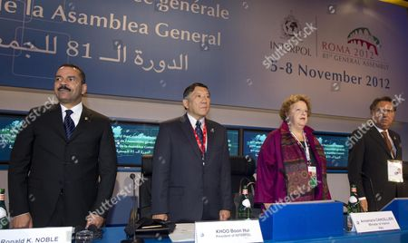 (l-r) the Secretary General of Interpol Us Ronald K Noble Interpol President Khoo Boon Hui Italian Interior Minister Anna Maria Cancellieri and Italian Police Chief Antonio Manganelli Attend a Session of Interpol's 81st General Assembly in Rome Italy 06 November 2012 the Assembly Takes Place 05-08 November the General Assembly is Composed of Delegates Appointed by the Governments of Member Countries As Interpol's Supreme Governing Body It Meets Once a Year and Takes All the Major Decisions Affecting General Policy the Resources Needed For International Cooperation Working Methods Finances and Programmes of Activities Epa/claudio Peri Italy Rome