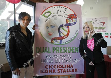 The Porn Actress and Politician Ilona Staller (r) Also Known As 'Cicciolina' is Seen During the Presentation of the New Italian Political Party 'Dna (democracy Nature Love)' in Rome Italy 08 November 2012 Staller who Has Been a Member of the Italian Parliament Founded the Party with Her Partner Luca Di Carlo (l) Italy Rome