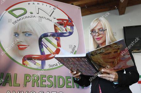 The Porn Actress and Politician Ilona Staller Also Known As 'Cicciolina' is Seen During the Presentation of the New Italian Political Party 'Dna (democracy Nature Love)' in Rome Italy 08 November 2012 Staller who Has Been a Member of the Italian Parliament Founded the Party with Her Partner Luca Di Carlo Italy Roma
