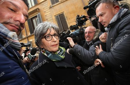 Italian Democratic Party Senate Leader Anna Finocchiaro (c) is Surrounded by Members of the Media As She Arrives at Democratic Party Headquarters For a Party Meeting in Rome Italy 06 March 2013 the Centre-left Won the Most Votes But Failed to Secure a Majority in the Recent Italian General Election Democratic Party (pd) Leader Pier Luigi Bersani Indicated He Would Try to Lead a Minority Government with Outside Support From the Five Star Movement Italy Rome