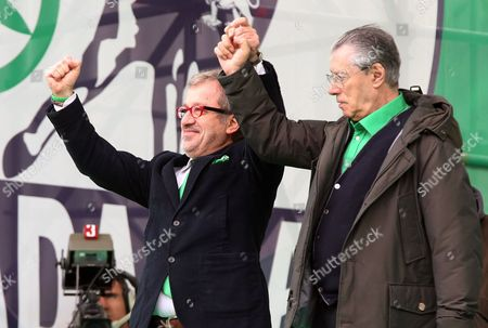 Italian 'Lega Nord' Party Leader Umberto Bossi (r) with Lombardia Region President Roberto Maroni (l) Wave to Supporters During the Yearly Meeting of the Party in Pontida Bergamo District Italy 07 April 2013 the Lega Nord Stands United Said Bossi During His Speech to Participants of the Meeting in Pontida on 07 April Italy Pontida