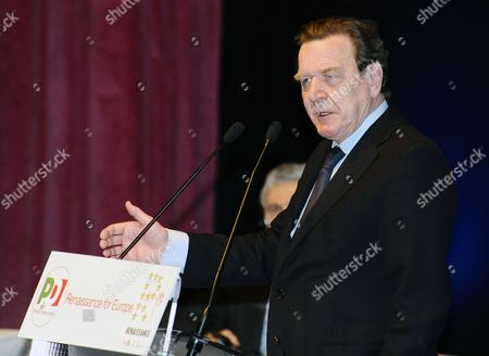 Former Chancellor of Germany Gerhard Schroder Addresses Delegation During the Meeting 'Renaissance For Europe' in Turin Northern Italy 9 February 2013 Italy Turin
