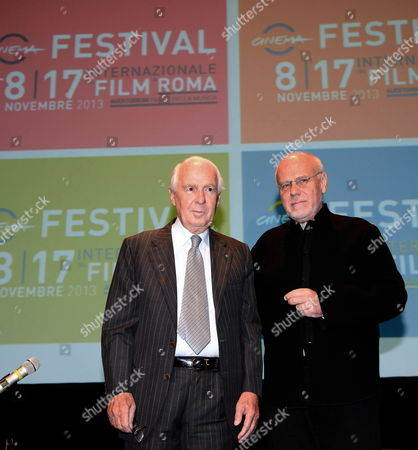 The Artistic Director of the Rome Film Festival Marco Muller (r) and the Festival's President Paolo Ferrari (l) Pose During a Press Conference on the Eighth Rome Film Festival 14 October 2013 in Rome Italy the Festival Will Take Place From 08 to 17 November Italy Rome
