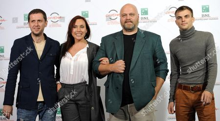 (l-r) Russian Cast Members Pavel Basov Darya Ekamasova Director Aleksej Fedorchenko and Alexey Solonchev Pose During the Photocall For the Movie 'Angels of Revolution (angely Revolucii)' at the 9th Annual Rome Film Festival in Rome Italy 22 October 2014 the Festival Runs From 16 to 25 October Italy Rome