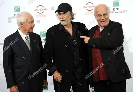 (l-r) Italian President of the Fondazione Cinema Per Roma Paolo Ferrari Cuban-born Us Actor Tomas Milian and Italian Festival Director Marco Mueller Pose During a Photocall at the 9th Annual Rome Film Festival in Rome Italy 16 October 2014 Tomas Milian Will Receive the Marc'aurelio Acting Award During the Opening Ceremony at the Festival That Runs From 16 to 25 October Italy Rome