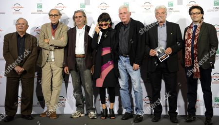 Italian Director Elisabetta Sgarbi (c) Poses with All Cast During the Photocall For the Movie 'Due Volte Delta' at the 9th Annual Rome Film Festival in Rome Italy 23 October 2014 the Festival Runs From 16 to 25 October Italy Rome