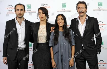 (l-r) British Actor Khalid Abdalla British Director Tala Hadid Moroccan Actress Zahra Hindi and French Actor Hocine Choutri Pose During the Photocall For 'The Narrow Frame of Midnight' (itar El-layl) at the 9th Annual Rome Film Festival in Rome Italy 17 October 2014 the Festival Runs From 16 to 25 October Italy Rome