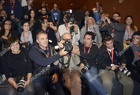 Italian Musician Franco Battiato (c) Pose Amongst Photographer During the Photocall For the Movie 'Due Volte Delta' at the 9th Annual Rome Film Festival in Rome Italy 23 October 2014 the Festival Runs From 16 to 25 October Italy Rome