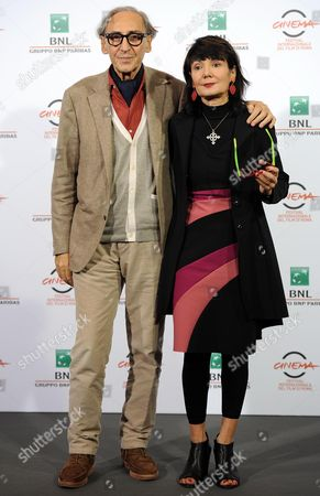 Italian Director Elisabetta Sgarbi (r) and Compatriot Musician Franco Battiato (l) Pose During the Photocall For the Movie 'Due Volte Delta' at the 9th Annual Rome Film Festival in Rome Italy 23 October 2014 the Festival Runs From 16 to 25 October Italy Rome