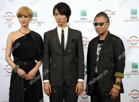 (l-r) Japanese Actors Hirona Yamazaki Sota Fukushi and Japanese Director Takashi Miike Pose During the Photocall For the Movie 'As the Gods Will' (kamisana No Iutoori) at the 9th Annual Rome Film Festival in Rome Italy 18 October 2014 the Festival Runs From 16 to 25 October Italy Rome