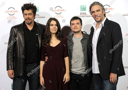 (l-r) Cast Members Puerto Rican Actor Benicio Del Toro Spanish Actress Claudia Traisac Us Actor Josh Hutcherson and Italian Director Andrea Di Stefano Pose During the Photocall For the Movie 'Escobar: Paradise Lost' at the 9th Annual Rome Film Festival in Rome Italy 19 October 2014 the Festival Runs From 16 to 25 October Italy Rome