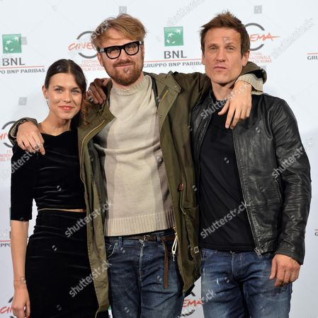 Italian Director Lorenzo Sportiello (c) British Actor Simon Merrells (r) and Romanian Actress Ana Ularu (l) Pose During the Photocall For the Movie 'Index Zero' at the 9th Annual Rome Film Festival in Rome Italy 24 October 2014 the Festival Runs From 16 to 25 October Italy Rome