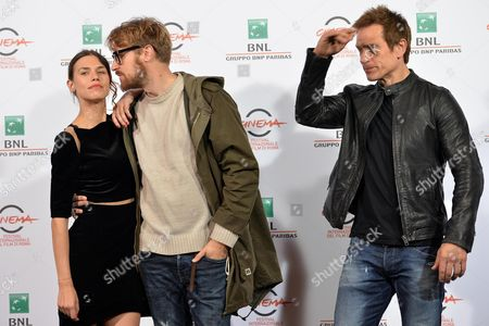 Stock Picture of Italian Director Lorenzo Sportiello (c) British Actor Simon Merrells (r) and Romanian Actress Ana Ularu (l) Pose During the Photocall For the Movie 'Index Zero' at the 9th Annual Rome Film Festival in Rome Italy 24 October 2014 the Festival Runs From 16 to 25 October Italy Rome