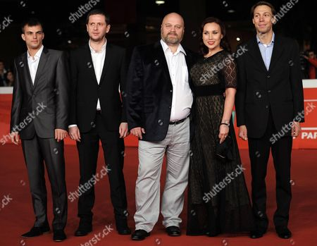 From (l-r): Russian Actors/cast Members Pavel Basov Alexey Solonchev Director Aleksej Fedorchenko Darya Ekamasova and Kostantin Balakirev Arrive For the Premiere of the Movie 'Angels of Revolution (lit:angely Revolucii)' at the 9th Annual Rome Film Festival in Rome Italy 22 October 2014 the Festival Runs From 16 to 25 October Italy Rome