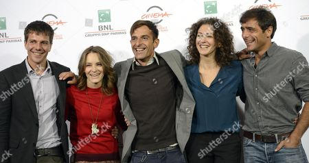 (l-r) Italian Actors Domenico Diele and Maria Roveran Italian Director Claudio Noce Russian Actress Ksenia Rappoport and Italian Actor Adriano Giannini Pose During the Photocall For 'La Foresta Di Ghiaccio' (the Ice Forest) at the 9th Annual Rome Film Festival in Rome Italy 23 October 2014 the Festival Runs From 16 to 25 October Italy Rome