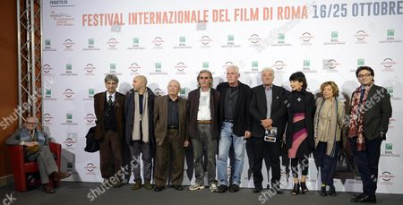 Italian Director Elisabetta Sgarbi (3- R) Poses with All Cast During the Photocall For the Movie 'Due Volte Delta' at the 9th Annual Rome Film Festival in Rome Italy 23 October 2014 the Festival Runs From 16 to 25 October Italy Rome