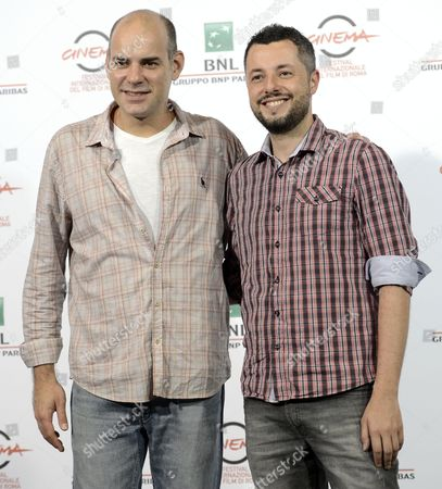 Stock Picture of Brazilian Director Marco Dutra (r) and Brazilian Actor Marat Descartes (l) Pose During the Photocall For the Movie 'Quando Eu Era Vivo (when i was Alive)' at the 9th Annual Rome Film Festival in Rome Italy 17 October 2014 the Festival Runs From 16 to 25 October Italy Rome