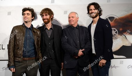 Welsh Director Peter Greenaway Poses with Italian Actors Flavio Parenti (l) Stefano Scherini (2-l) and Giulio Berruti (r) During the Photocall For the Movie 'Goltzius and the Pelican Company' at the Seventh Annual Rome Film Festival in Rome Italy 12 November 2012 the Movie is Presented out Competition at the Festival That Runs From 09 to 17 November Italy Rome