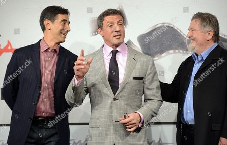 (l-r) Italian Writer Alessandro Camon Us Actor Sylvester Stallone and Us Director Walter Hill Pose For the Photocall For the Movie 'Bullet to the Head' at the 7th Rome Film Festival in Rome Italy 14 November 2012 the Movie is Presented out Competition at the Festival That Runs From 09 to 17 November Italy Rome