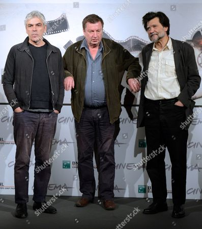 From (l-r) Directors Portuguese Pedro Costa Finnish Aki Kaurismaki and Spanish Victor Erice Pose During the Photocall For the Movie 'Centro Historico' at the Seventh Annual Rome Film Festival in Rome Italy 09 November 2012 the Movie is Presented out Competition at the Festival That Runs From 09 to 17 November Italy Rome