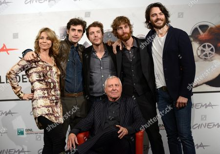 Welsh Director Peter Greenaway (c)poses with Actors (l-r) Anne Louise Hassing Flavio Parenti Ramsey Nasr Stefano Scherini and Giulio Berruti During the Photocall For the Movie 'Goltzius and the Pelican Company' at the Seventh Annual Rome Film Festival in Rome Italy 12 November 2012 the Movie is Presented out Competition at the Festival That Runs From 09 to 17 November Italy Rome