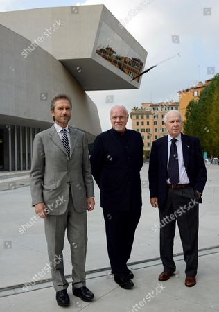 (l-r) General Director Lamberto Mancini the New Artistic Director of the Rome Film Festival Marco Mueller and Festival President Paolo Ferrari Pose During a Press Conference on the Program Cinema Xxi of the Seventh Rome Film Festival at the Maxxi National Museum of Xxi Century Arts in Rome Italy 23 October 2012 the Festival Runs From 07 November to 17 November Italy Rome