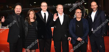 International Jury Members (l-r) Chinese Filmmaker Zhang Yuan Argentine Filmmaker Veronica Chen Us Director and Jury President James Gray Russian Actor and Producer Aleksei Guskov Iranian Filmmaker Amir Naderi and Italian Director Luca Guadagnino Arrive For the Opening Ceremony of the 8th International Rome Film Festival in Rome Italy 08 November 2013 the Festival Runs From 08 to 17 November Italy Rome
