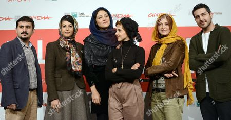 Stock Picture of Iranian Director Kiarash Asadizadeh (l-r) Poses with His Cast Nawal Sharifi Shabnam Moghaddami Mahsa Alafar Roya Javidnia and Mohammadreza Ghaffari During the Photocall For the Movie 'Gass (acrid)' at the 8th Annual Rome Film Festival in Rome Italy 11 November 2013 the Movie is Presented in the Official Competition at the Festival That Runs From 08 to 17 November Italy Rome