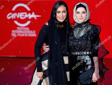 Stock Picture of Actresses/cast Members Dana Keilani (l) and Sara El Debuch (r) Pose on the Red Carpet at Rome's Park of the Music Auditorium As They Arrive For the Screening of the Movie 'Border' at the 8th Annual Rome Film Festival in Rome Italy 12 November 2013 the Movie is Presented out of Competition at the Festival That Runs From 08 to 17 November Italy Rome