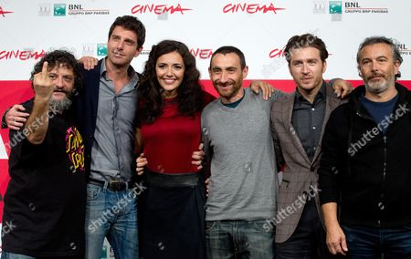 Stock Image of (l-r) Italian Director Marco Manetti Actors Giampaolo Morelli Serena Rossi Director Antonio Manetti Alessandro Roja and Paolo Sassanelli Pose During the Photocall For 'Song'e Napule' at the 8th Annual Rome Film Festival in Rome Italy 10 November 2013 the Movie is Presented out of Competition at the Festival That Runs From 08 to 17 November Italy Rome