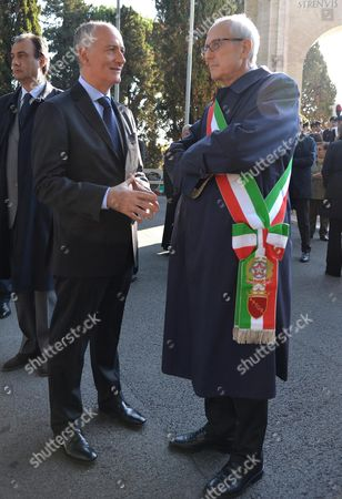 Rome Commissioner Francesco Paolo Tronca (r) and Rome Prefect Franco Gabrielli (l) Attend the Ceremony at the Verano Military Memorial For the Commemoration of All the Soldiers Fallen in War in the Line of Duty Rome Italy 02 November 2015 Former Milan Prefect Francesco Paolo Tronca Will Get Down to Work in Earnest on 02 November 2015 After Being Sworn in As Rome Commissioner on the Previous Day to Replace Ex-mayor Ignazio Marino Italy Rome (italy)