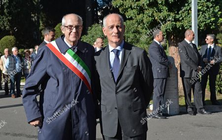 Rome Commissioner Francesco Paolo Tronca (l) and Rome Prefect Franco Gabrielli (r) Attend the Ceremony at the Verano Military Memorial For the Commemoration of All the Soldiers Fallen in War in the Line of Duty Rome Italy 02 November 2015 Former Milan Prefect Francesco Paolo Tronca Will Get Down to Work in Earnest on 02 November 2015 After Being Sworn in As Rome Commissioner on the Previous Day to Replace Ex-mayor Ignazio Marino Italy Rome (italy)