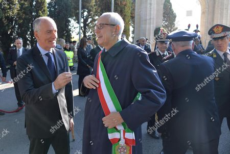 Rome Commissioner Francesco Paolo Tronca (c) and Rome Prefect Franco Gabrielli (l) Attend the Ceremony at the Verano Military Memorial For the Commemoration of All the Soldiers Fallen in War in the Line of Duty Rome Italy 02 November 2015 Former Milan Prefect Francesco Paolo Tronca Will Get Down to Work in Earnest on 02 November 2015 After Being Sworn in As Rome Commissioner on the Previous Day to Replace Ex-mayor Ignazio Marino Italy Rome (italy)