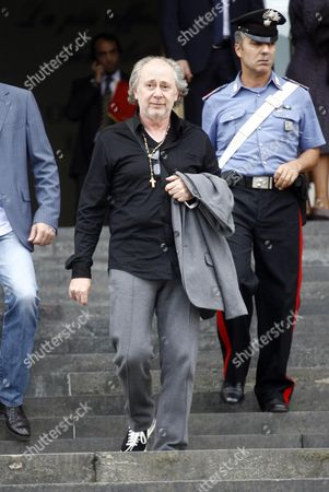 Former Talent Agent Lele Mora (c) Leaves the Tribunal in Milan After Attending a Trial Hearing in the 'Ruby' Karima El Mahroug Case Milan Italy 28 September 2012 Lele Mora Has Gone on Trial on Charges For Allegedly Recruiting Underage Moroccan Showgirl Karima El Mahroug and Other Women For So-called 'Bunga Bunga' Parties at the Home of Italy's Former Prime Minister Silvio Berlusconi Italy Milan
