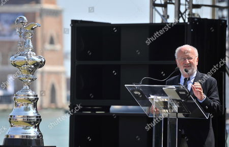 The Mayor of Venice Giorgio Orsoni Speaks During the Opening Ceremony of the Sailing America's Cup World Series in Venice Italy 12 May 2012 the America's Cup World Series Will Be Held From 12 Until 20 May 2012 As a Precursor to the 34th America's Cup and the Louis Vuitton Cup in 2013 Italy Venice