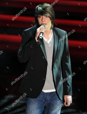 Alessandro Casillo Winner in the Youth Category at Sanremo Festival Sings the Song 'E' Vero (che Ci Sei)' on the Stage of Ariston Theatre in Sanremo Italy 17 February 2012 Italy Sanremo