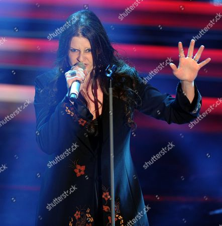 Italian Singer Irene Fornaciari on Stage During the Second Night of the Sanremo Italian Song Festival at the Ariston Theatre in Sanremo Italy 15 February 2012 Italy Sanremo