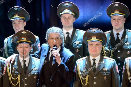 Italian Singer Toto Cutugno (c) Performs with the Red Army Choir During the First Night of the 63rd Sanremo Italian Song Festival at the Ariston Theatre in Sanremo Italy 12 February 2012 the Festival Runs From 12 to 16 February Italy Sanremo