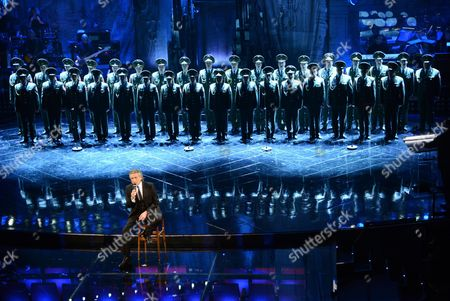 Italian Singer Toto Cutugno Performs with the Red Army Choir During the First Night of the 63rd Sanremo Italian Song Festival at the Ariston Theatre in Sanremo Italy 12 February 2012 the Festival Runs From 12 to 16 February Italy Sanremo
