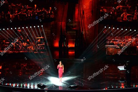 Italian Singer Maria Nazionale Performs During the First Night of the 63rd Sanremo Italian Song Festival at the Ariston Theatre in Sanremo Italy 12 February 2012 the Festival Runs From 12 to 16 February Italy Sanremo