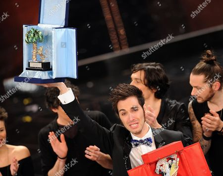 Antonio Maggio (c) Wins in the Youth Section of the 63rd Sanremo Italian Song Festival at the Ariston Theatre in Sanremo Italy 15 February 2013 the Sanremo Italian Song Festival Runs From 12 to 16 February Italy Sanremo
