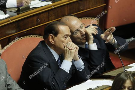 Former Italian Premier Silvio Berlusconi (l) Listens to Renato Schifani Leader of the Centre-right Pdl Party During the Vote of Confidence Inside the Senate in Rome 30 April 2013 Enrico Letta's New Government Won the Confidence Vote - the Second of Two Parliamentary Oks to Start Implementing an Ambitious Reform Programme Italy Rome