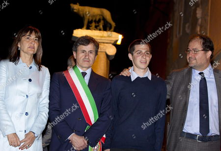 Israeli Soldier Gilad Shalit (ii From R) Poses For a Photo with the President of the Jewish Community of Rome Riccardo Pacifici (r) Rome's Mayor Gianni Alemanno and Lazio Region's Presidente Renata Polverini During a Ceremony where He was Made an Honorary Citizen of Rome in Campidoglio's Square in Rome Italy on 17 May 2012 Italy Rome
