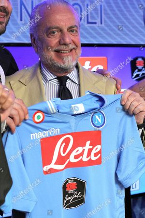 The President of Ssc Napoli Aurelio De Laurentis During the Presentation of the New Sponsor of the Team the Garofalo Pasta Castelvolturno Sport Centerm 15 July 2014 Italy Napoli