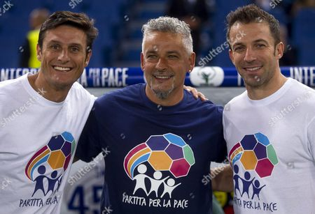 Former Soccer Players (l-r) Argentinian Javier Zanetti Italians Roberto Baggio and Alessandro Del Piero Pose For Photographers Before the Interreligious 'Match For Peace' at the Olimpico Stadium in Rome Italy 01 September 2014 the Match Has Been Organised by Pope Francis Upon the Pope's Appeals For an End to Conflicts Around the World Italy Rome