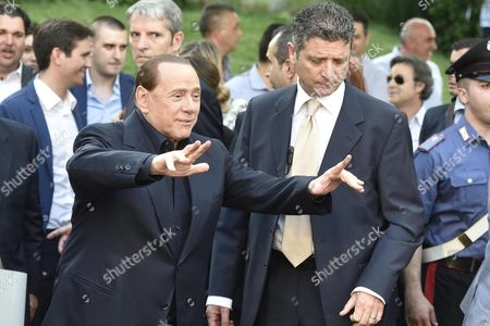 Stock Photo of Silvio Berlusconi (l) During an Electoral Meeting in Segrate Milan Italy 05 June 2015 Reports State That Berlusconi Has Reached a Tentative Deal with Bee Taechaubol That Would Give the Thai Businessman a Minority Stake of Under 50 Per Cent in Ac Milan the Seven-time European Soccer Champions the Figure is Reportedly Around 500 Million Euros and Negotiations Were Continuing to Close the Deal Italy Milan