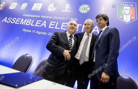 Outgoing Italian Football Federation President Giancarlo Abete (c) Poses with Candidates Carlo Tavecchio (l) and Demetrio Albertini (r) As They Arrive at an Election For the Italian Football Federation (figc) Presidency in Rome Italy 11 August 2014 Figc Vice-president Tavecchio Faces Former Ac Milan and Italy Midfielder Albertini in the Election to Choose a Replacement For Abete who Quit Following the World Cup Italy Rome