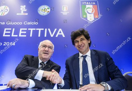 Candidates Carlo Tavecchio (l) and Demetrio Albertini (r) Attend an Election For the Italian Football Federation (figc) Presidency in Rome 11 August 2014 Figc Vice-president Tavecchio Faces Former Ac Milan and Italy Midfielder Albertini in the Election to Choose a Replacement For Giancarlo Abete who Quit Following the World Cup Italy Rome