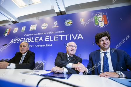 Outgoing Italian Football Federation President Giancarlo Abete (l) Poses with Candidates Carlo Tavecchio (c) and Demetrio Albertini (r) As They Arrive at an Election For the Italian Football Federation (figc) Presidency in Rome Italy 11 August 2014 Figc Vice-president Tavecchio Faces Former Ac Milan and Italy Midfielder Albertini in the Election to Choose a Replacement For Abete who Quit Following the World Cup Italy Rome
